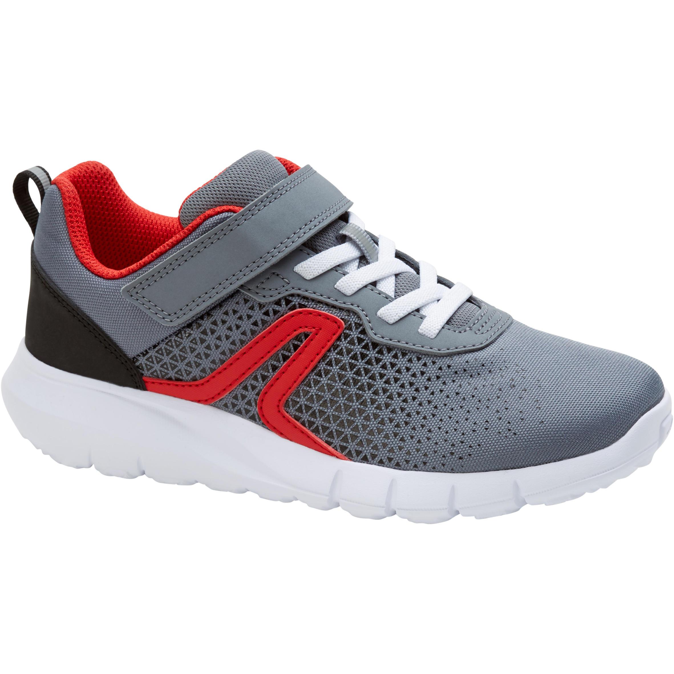 Tenis de caminata deportiva para niños Soft 140 gris / rojo