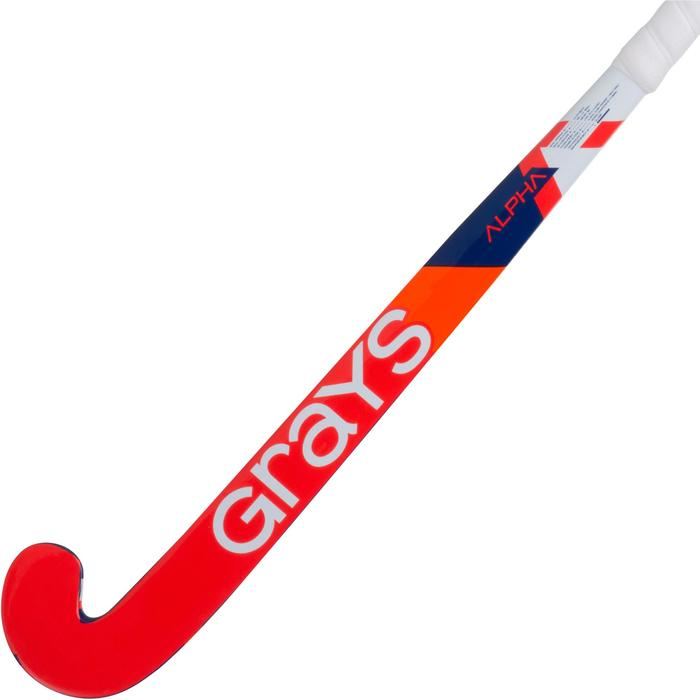 Crosse de hockey sur gazon enfant en bois Alpha orange et bleue - 1194082