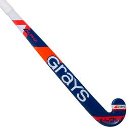 Crosse de hockey sur gazon enfant en bois Alpha orange et bleue