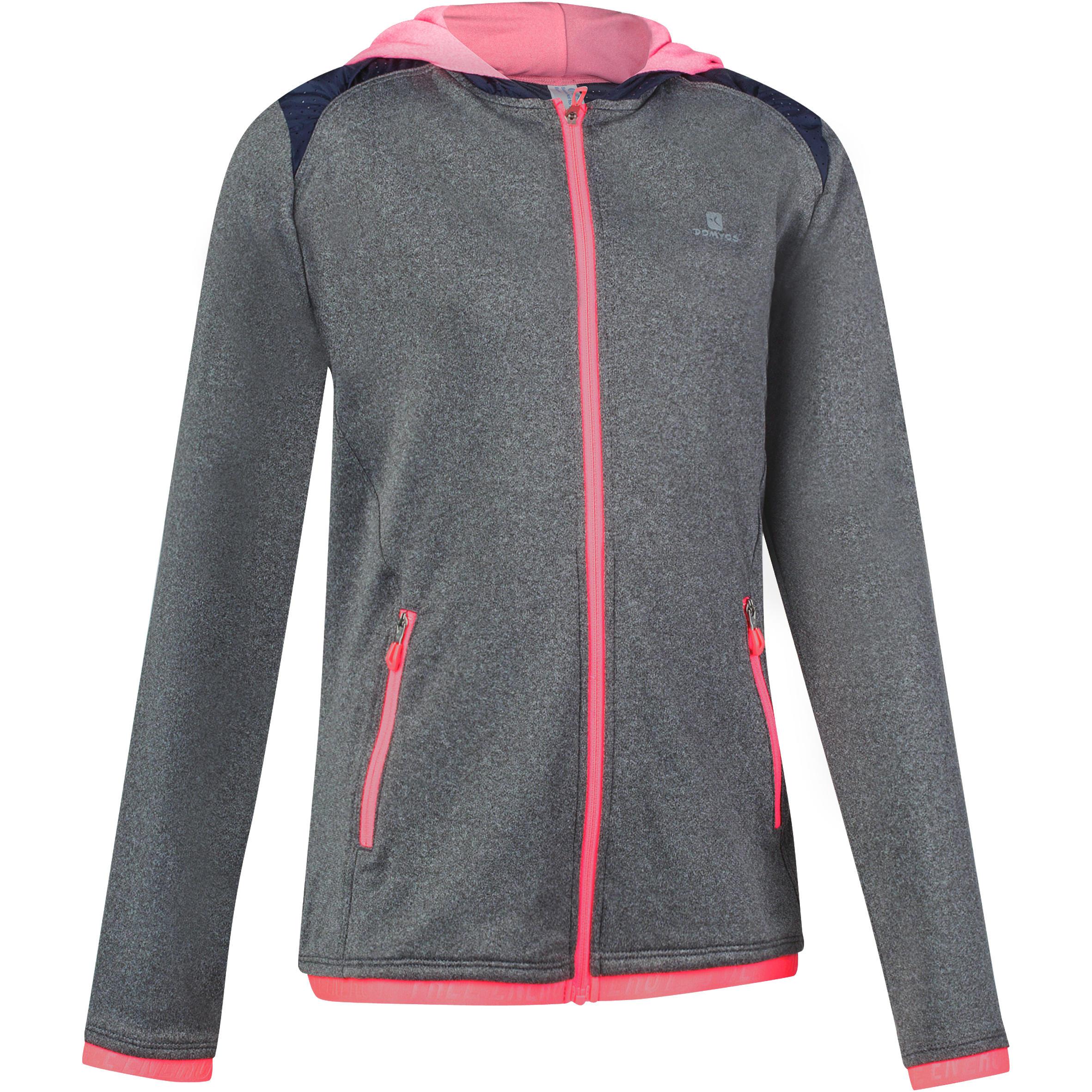 Energy Girls' Gym Warm Zip-Up Hooded Jacket - Grey