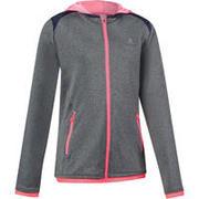 Siva jakna s kapuco in zadrgo za telovadbo ENERGY za deklice