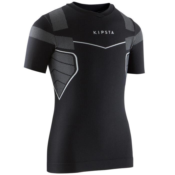 Camiseta Térmica Transpirable Manga Corta Kipsta KDRY500 Niño Negro