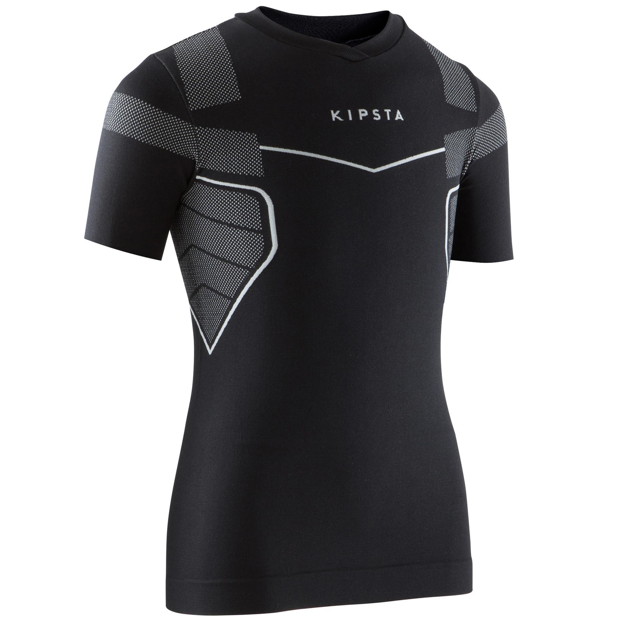 Kipsta Thermoshirt kind Keepdry 500 met korte mouwen zwart