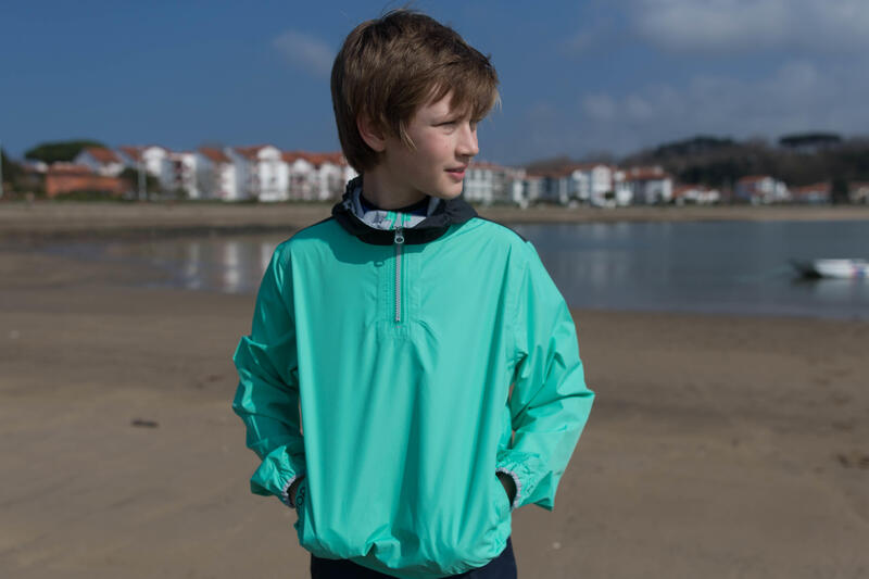 Dinghy 100 windproof child's anorak yellow/dark grey