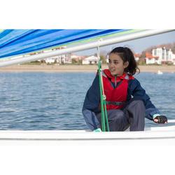 Chaqueta náutica Vareuse cortaviento vela ligera/catamarán niño 100 azul o/rojo