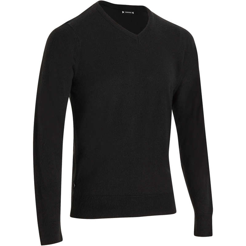 MENS MILD WEATHER GOLF CLOTHING - 100 V NECK GOLF SWEATER - BLACK INESIS