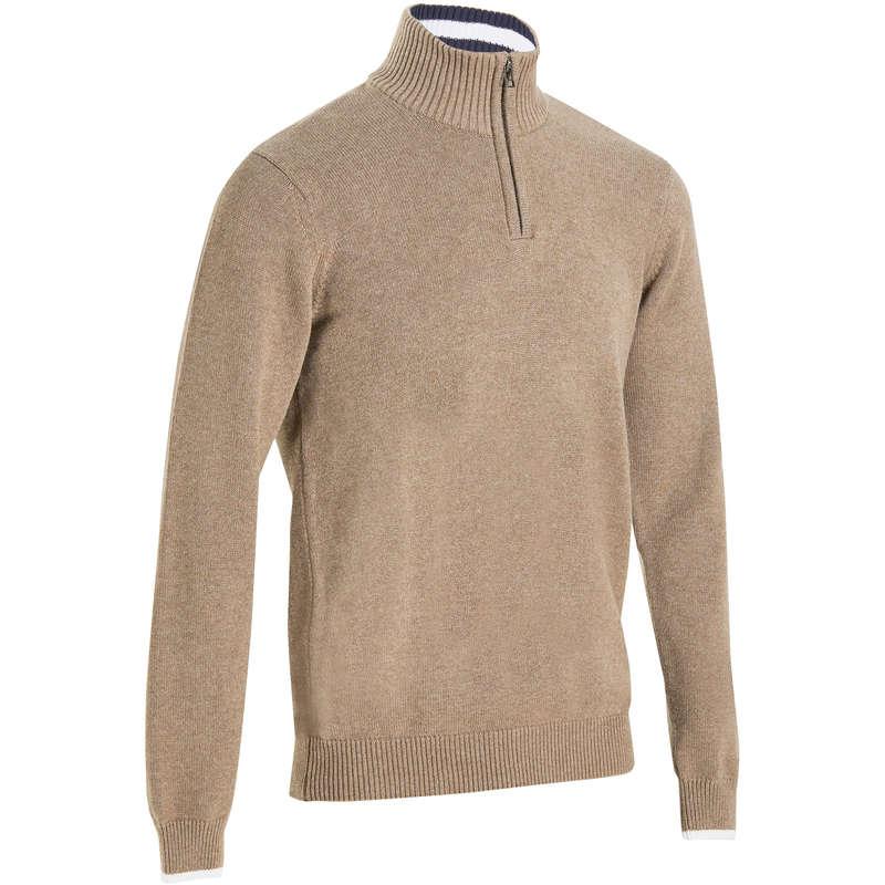 ODZIEŻ DO GOLFA MĘSKA NA ZIMNE DNI Golf - Ciepły sweter do golfa beżowy INESIS - Golf