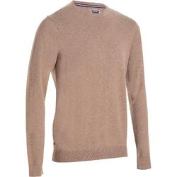 PULL GOLF HOMME 520 COL ROND MARRON chiné