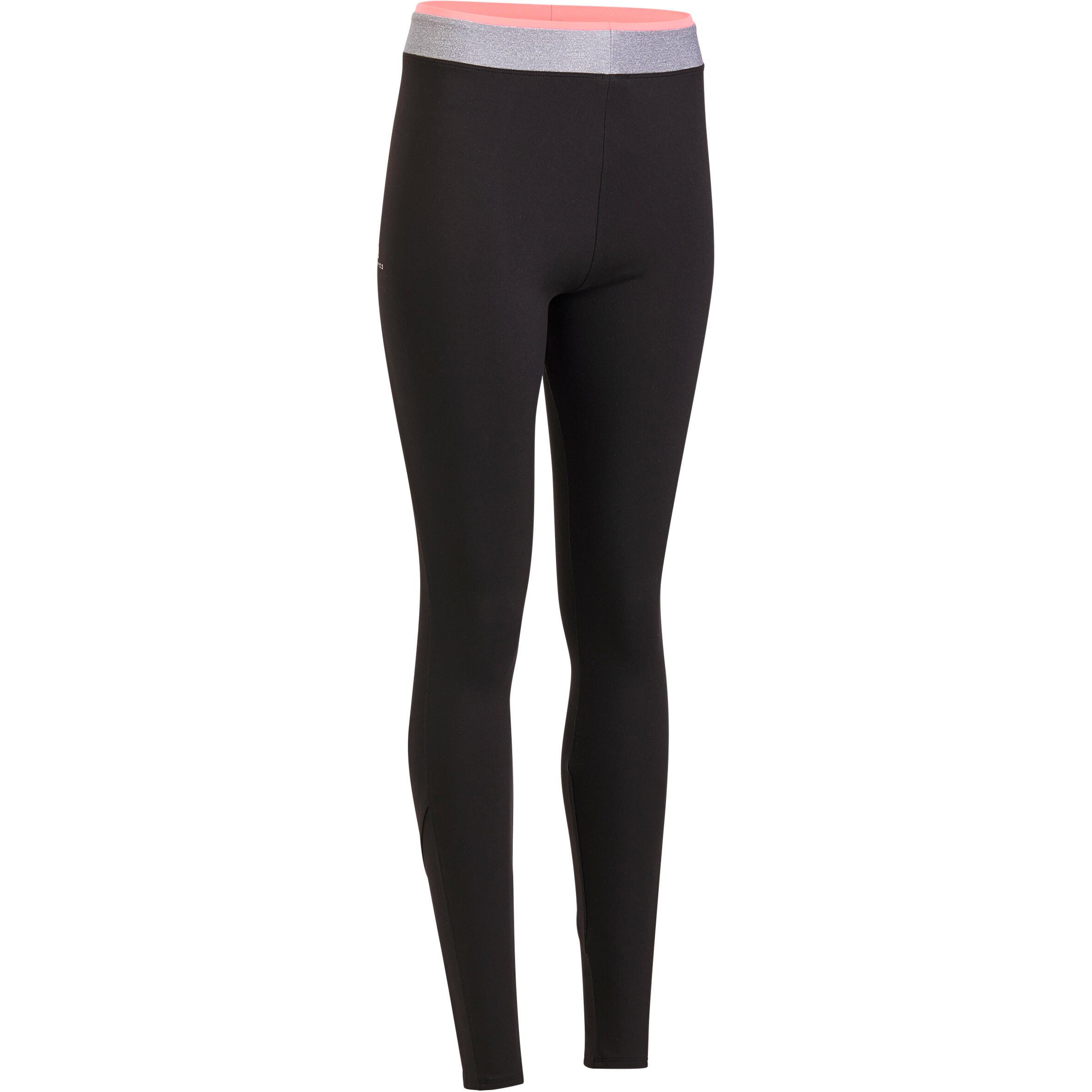 Leggings fitness cardio mujer negro 100 Domyos