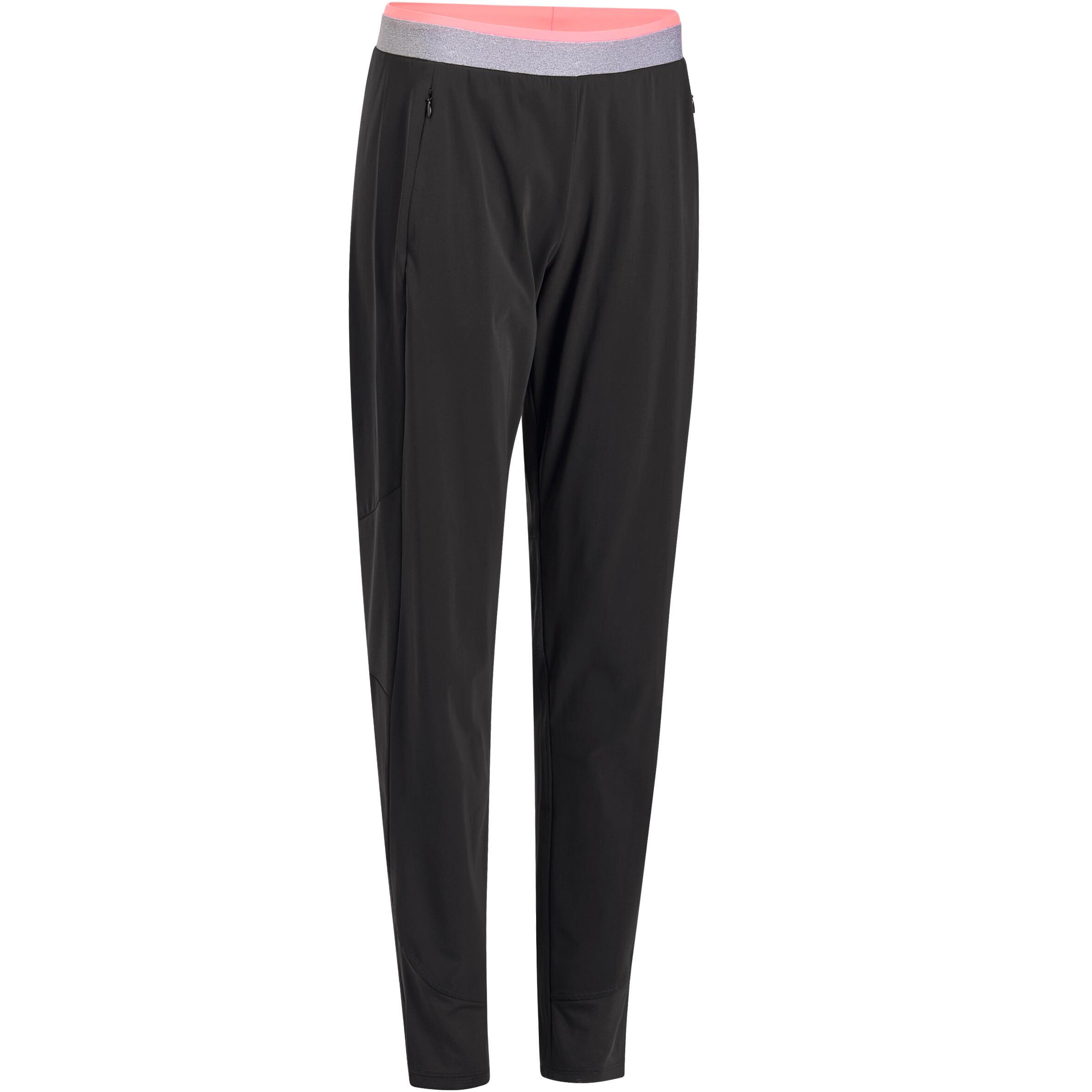 Pants regular fitness cardio mujer negro 100 Domyos