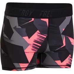 500 女性有氧健身運動短褲 - 粉紅熱帶印花