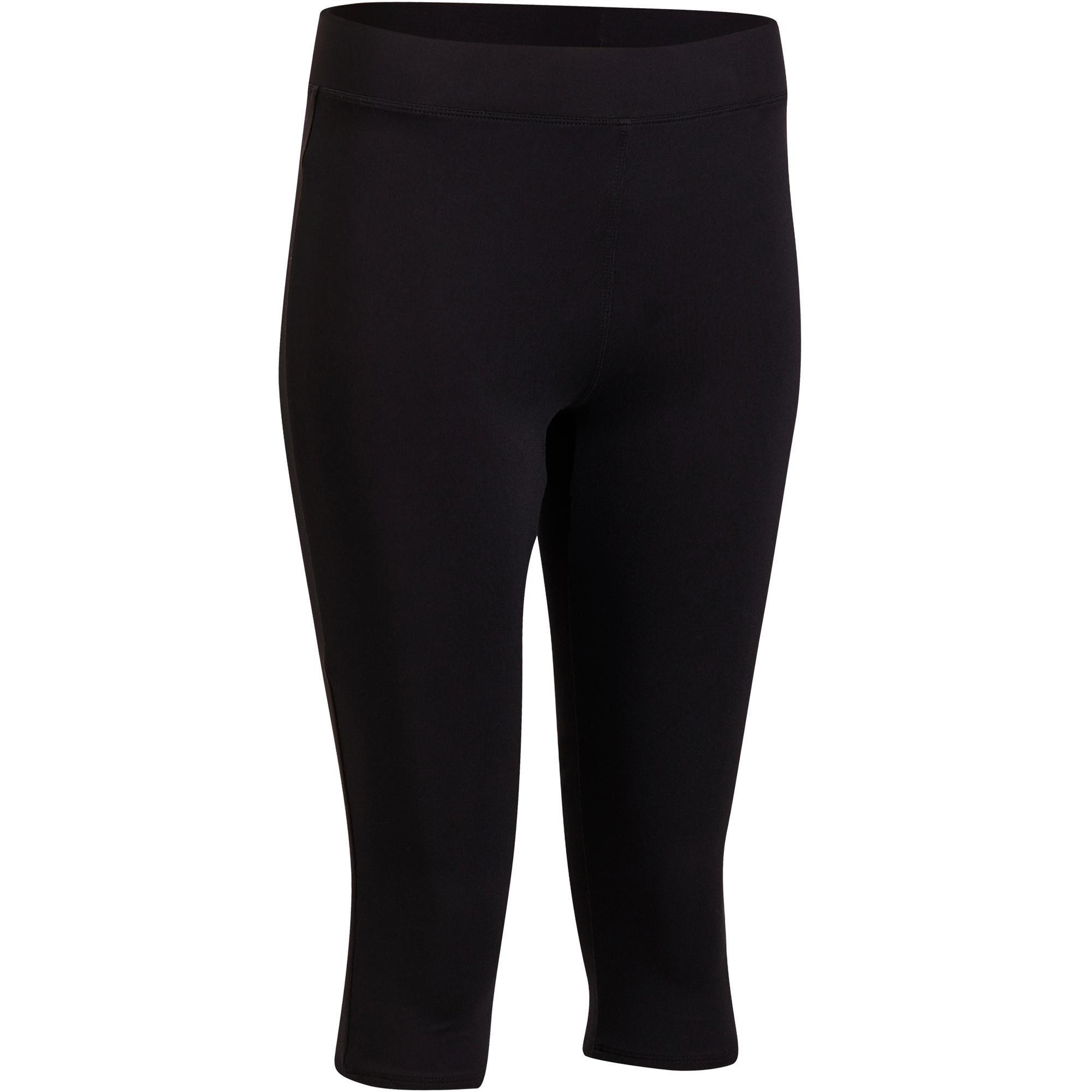 Domyos Fitness legging 100 voor dames 3/4, zwart