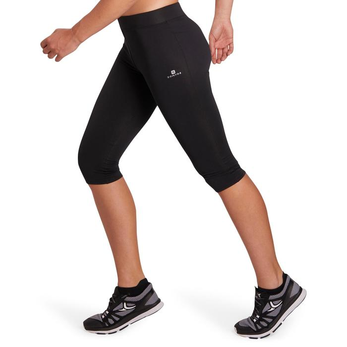 100 Women's Cardio Fitness Cropped Bottoms - Black - 1196125