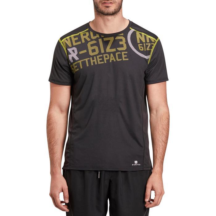 T-shirt fitness cardio homme noir imprimé FTS 120 - 1196164