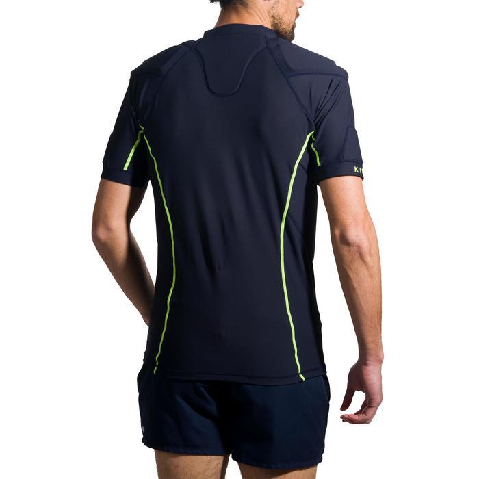Hombrera de rugby adulto R100 azul marino amarillo