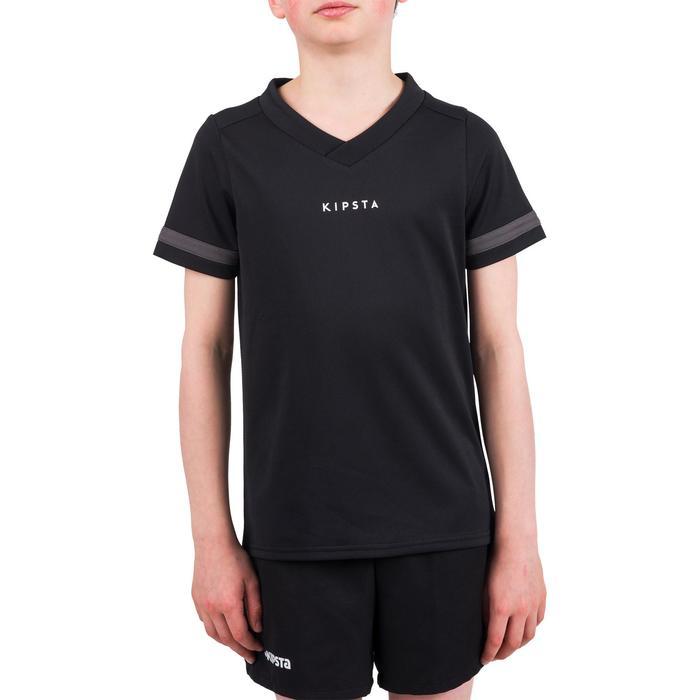 Rugbyshirt voor kinderen 100 zwart