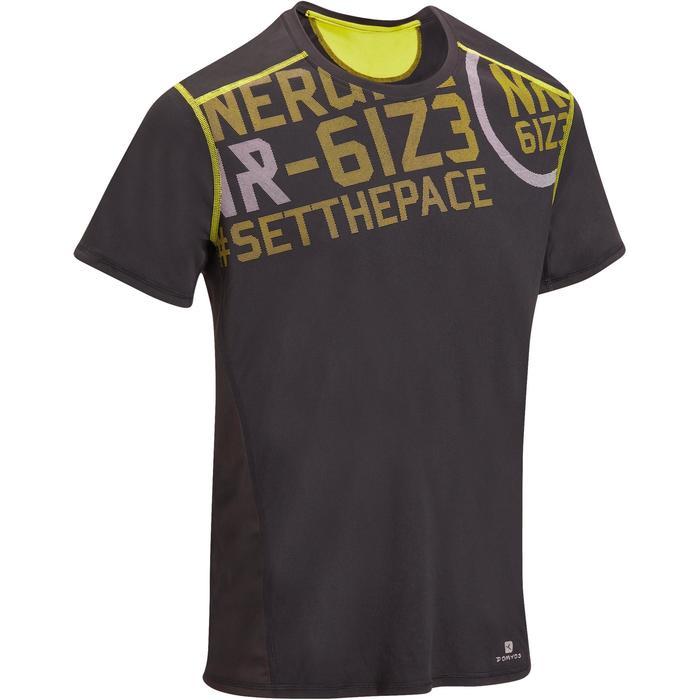 T-shirt fitness cardio homme noir imprimé FTS 120 - 1196330