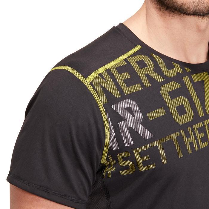 T-shirt fitness cardio homme noir imprimé FTS 120 - 1196391