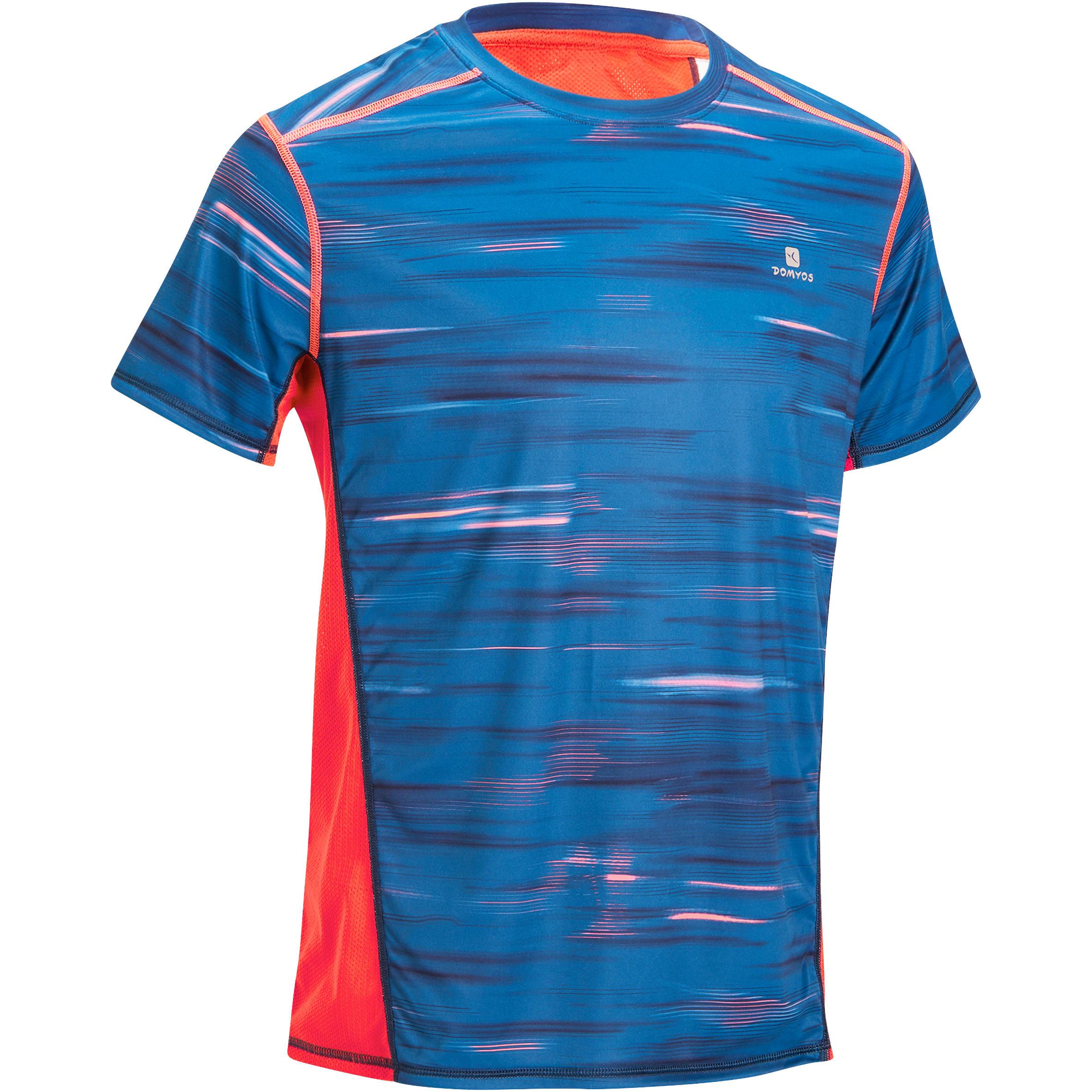 T Fitness Shirt Motifs Cardio Corail Energy Bleu Homme R5L4Aj
