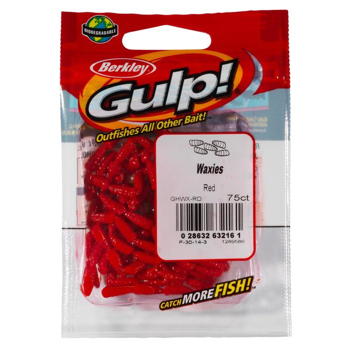 Imitatieaas Gulp Waxies Red voor statisch vissen