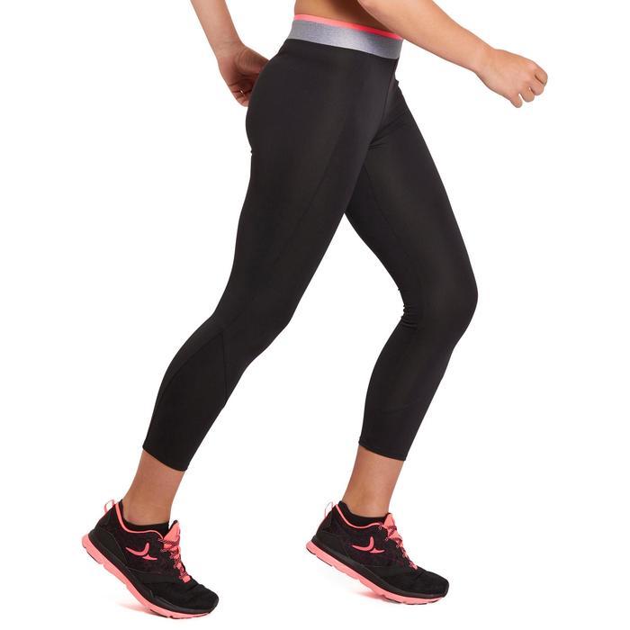 100 女性有氧運動7/8分緊身褲 - 黑色