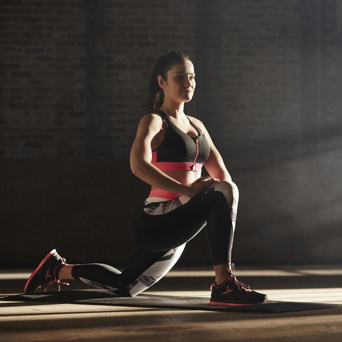 Brassière zip fitness cardio femme imprimés tropicaux roses 900 Domyos - 1197120