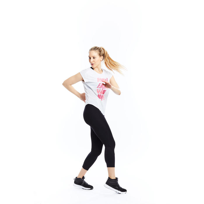 T-shirt loose fitness cardio femme avec imprimés 120 Domyos - 1197764