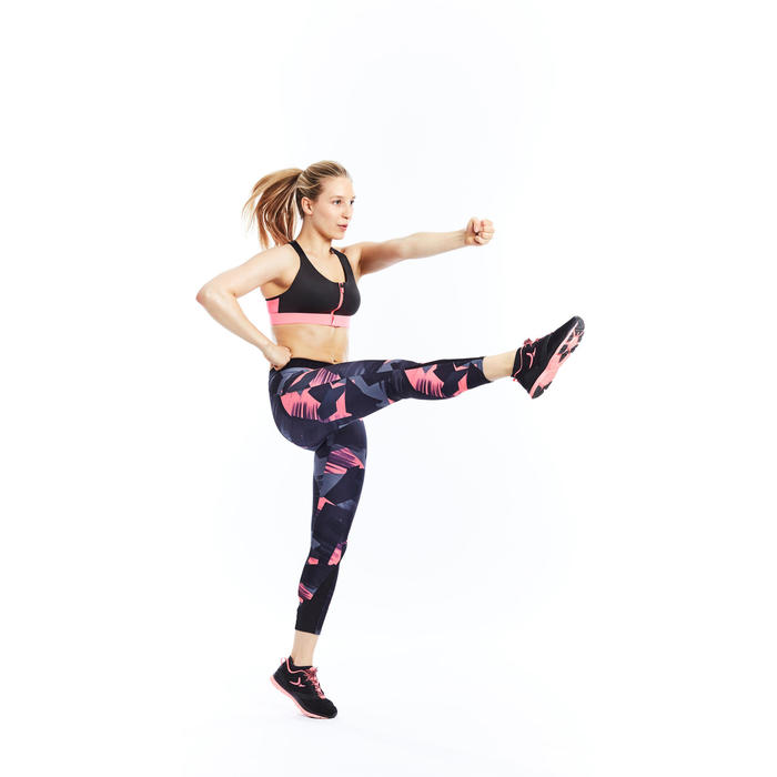 Brassière zip fitness cardio femme imprimés tropicaux roses 900 Domyos - 1197774
