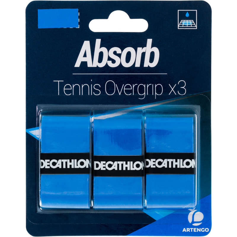 ACCESSORI RACCHETTE TENNIS Sport di racchetta - Overgrip ABSORB azzurro x3 ARTENGO - Attrezzatura tennis