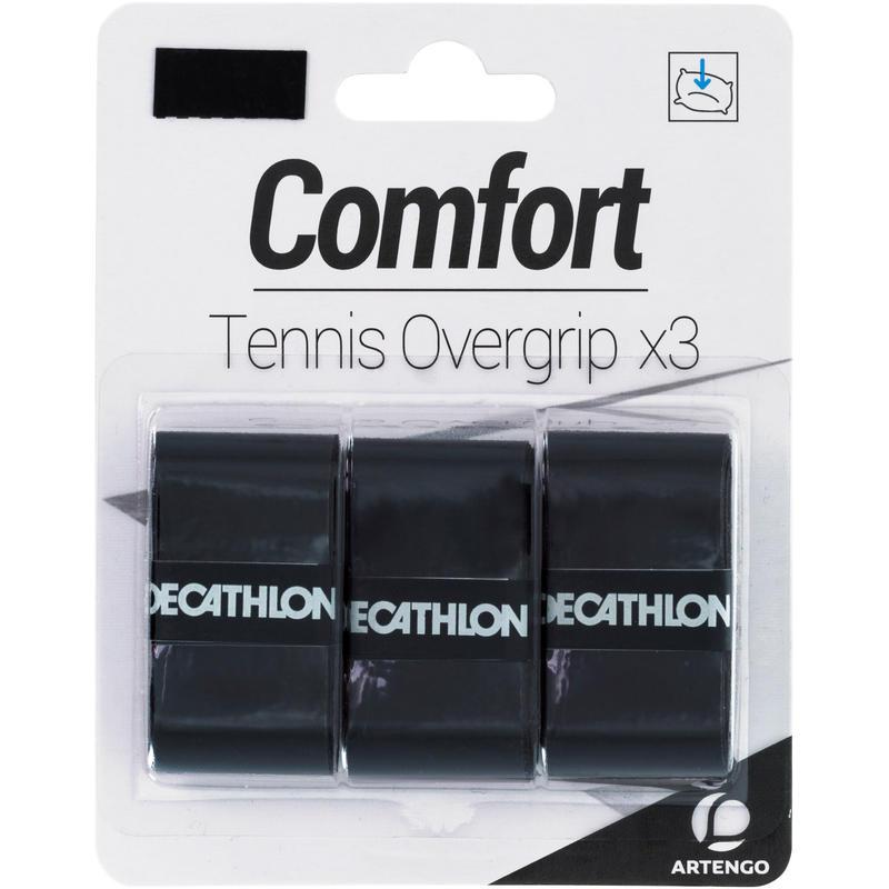 โอเวอร์กริปเทนนิสรุ่น Comfort แพ็ค 3 ชิ้น (สีดำ)