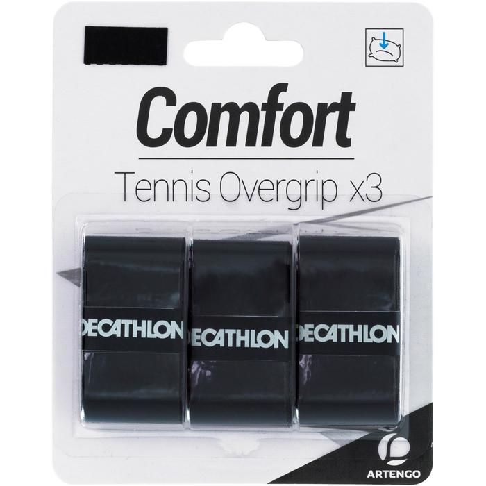 Overgrip voor tennis Comfort zwart set van 3