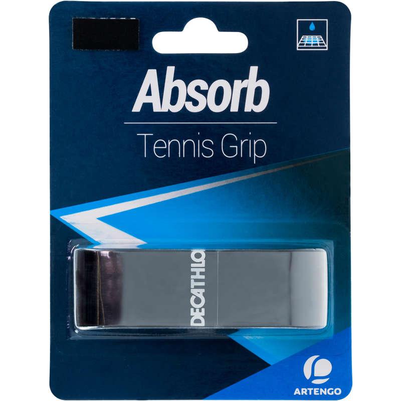 RACKETS ACCESSORIES Tennis - Absorb Tennis Grip - Black ARTENGO - Tennis Accessories