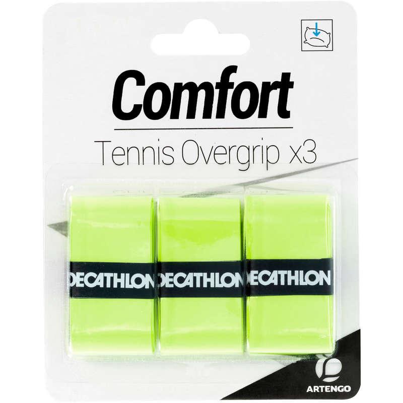 ACCESSORI RACCHETTE TENNIS Sport di racchetta - Overgrip COMFORT giallo x3 ARTENGO - Attrezzatura tennis