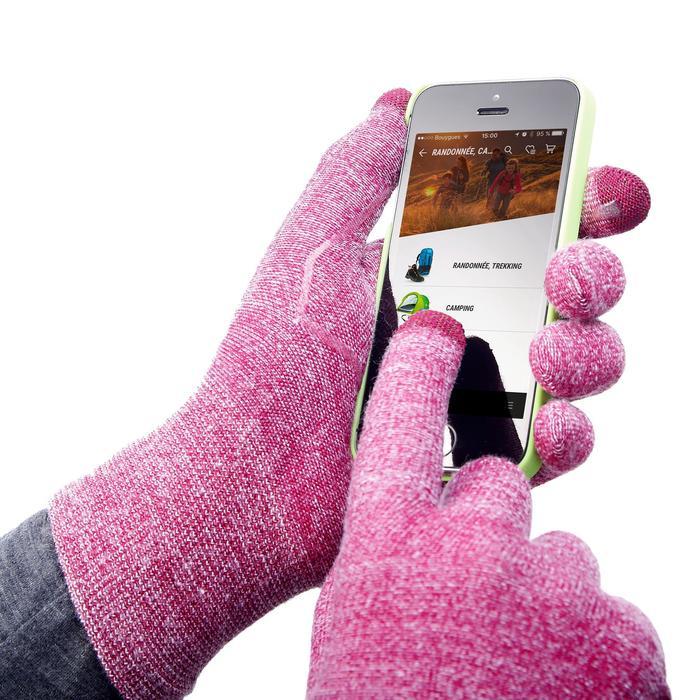 Sous-gants tactiles de trekking montagne - TREK 500 violet unisexe