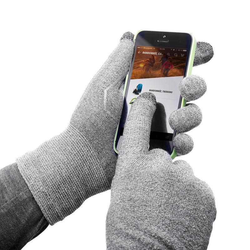 Unisex Touch-screen Compatible Mountain Trekking Liner Gloves - TREK 500 - Grey