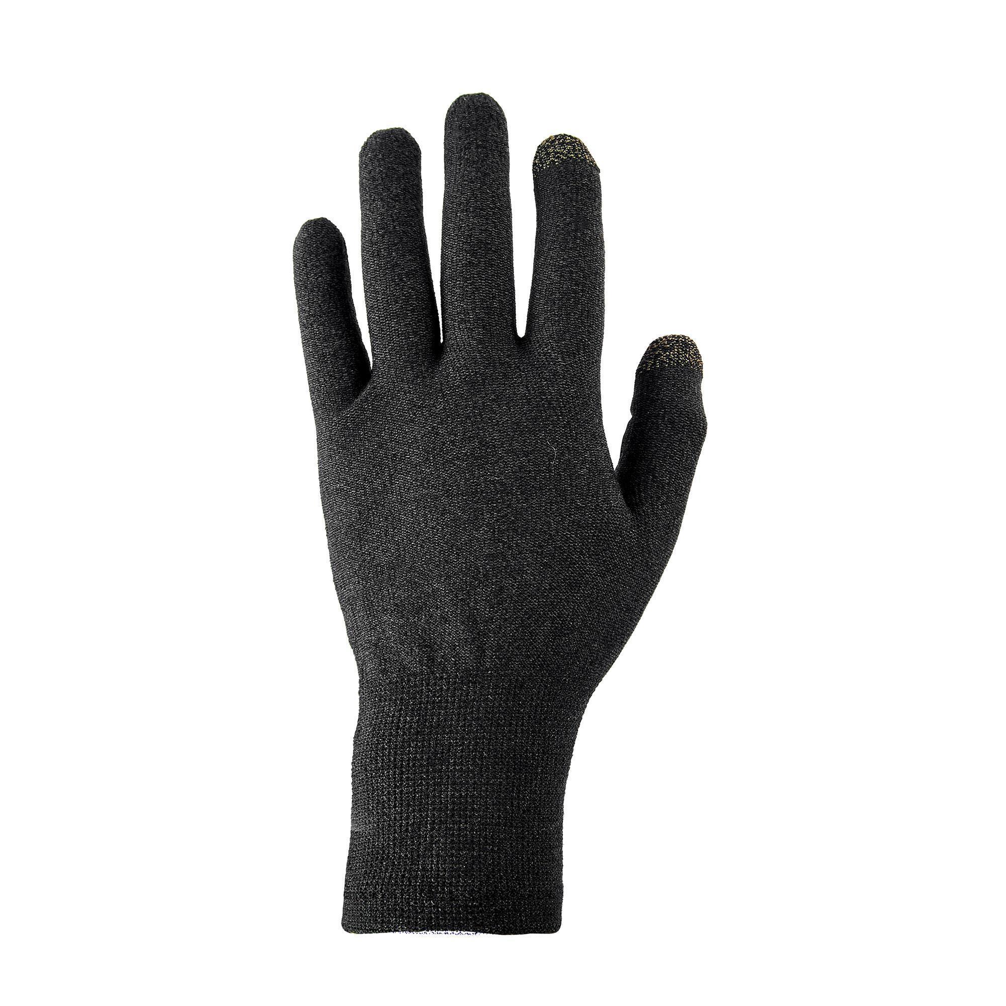 Sous gants tactiles de trekking montagne trek 500 noir unisexe forclaz