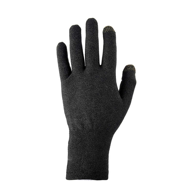 GLOVES, UNDERGLOVES, MITTENS HIKING/TREK Trekking - TREK 500 BLACK LINER GLOVES FORCLAZ - Trekking