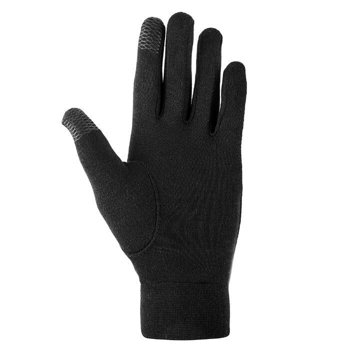 Sous-gants de randonnée junior SH100 Soie warm noirs
