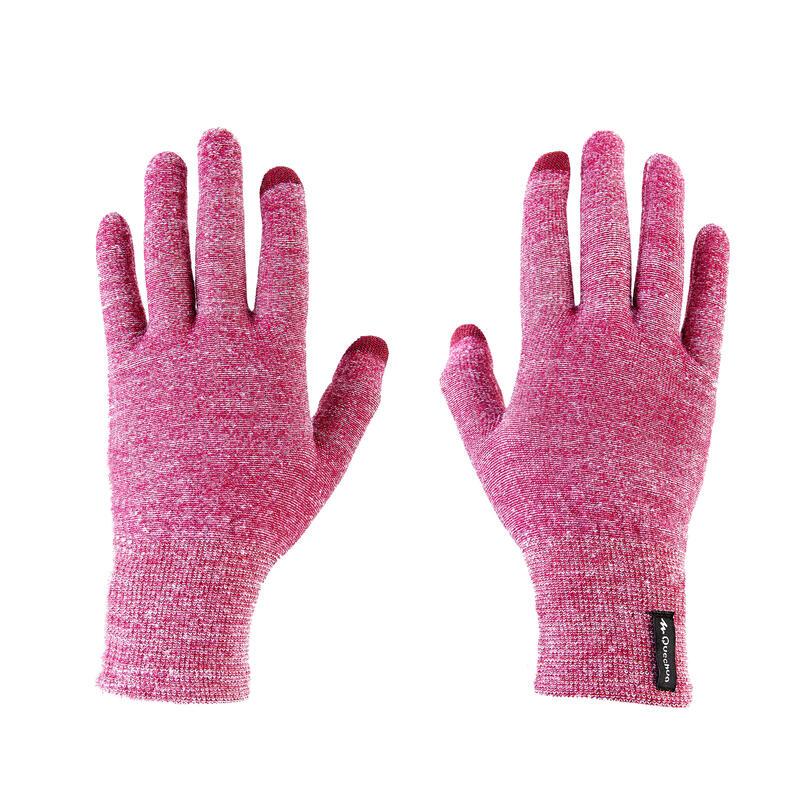 Spodní turistické dotykové rukavice TREK 500 fialové
