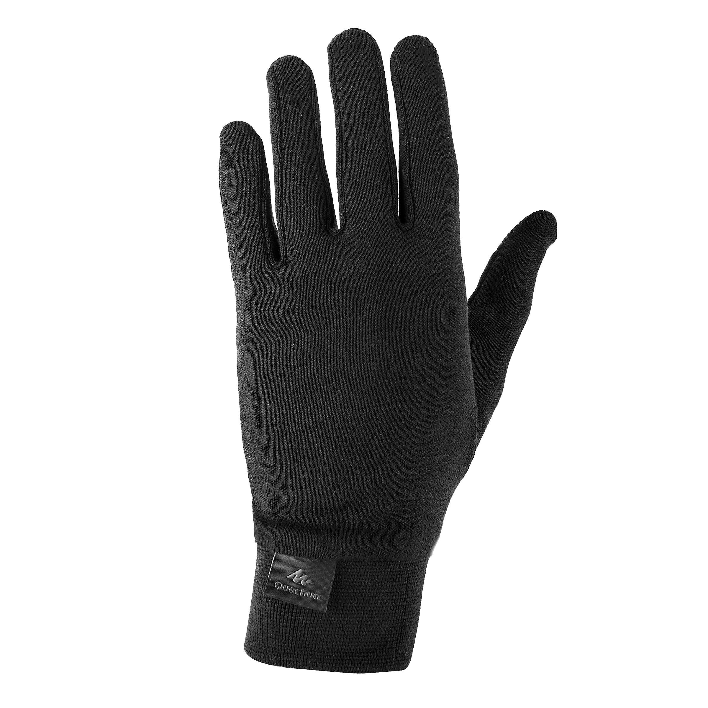 Sous gants de randonnée enfant mh500 soie warm noirs quechua