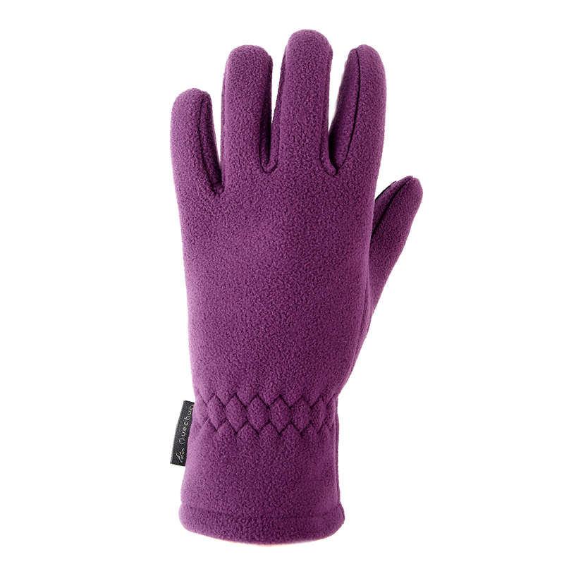 CHILDREN SNOW HIKING GLOVES & WARM SOCKS Hiking - JR FLEECE GLV MH500 - PURPLE QUECHUA - Hiking Clothes