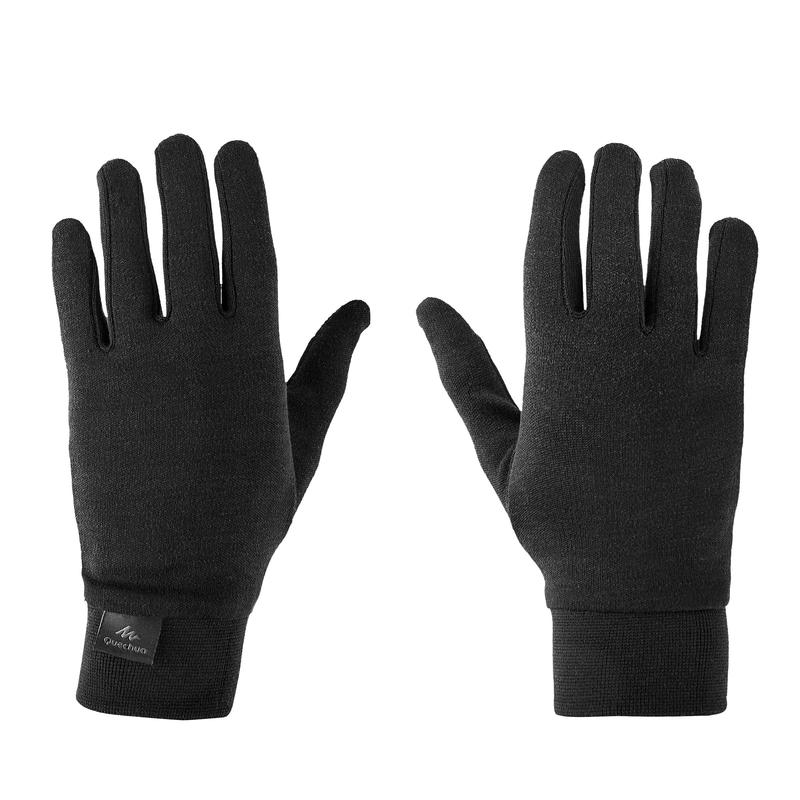 Adult Mountain Trekking Silk Liner Gloves - TREK 500 Black