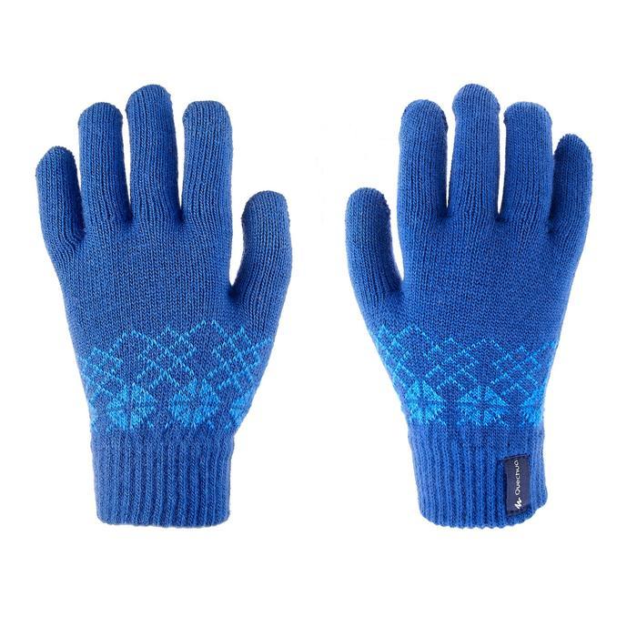 Gants en maille de randonnée junior SH100 warm bleus