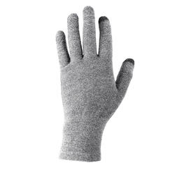 Unisex Mountain Trekking Touchscreen-Compatible Liner Gloves Trek 500 - Grey