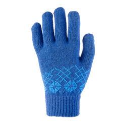 Gants en maille de randonnée junior SH100 chauds bleus