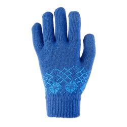 Children's knitted hiking gloves MH100 - Blue