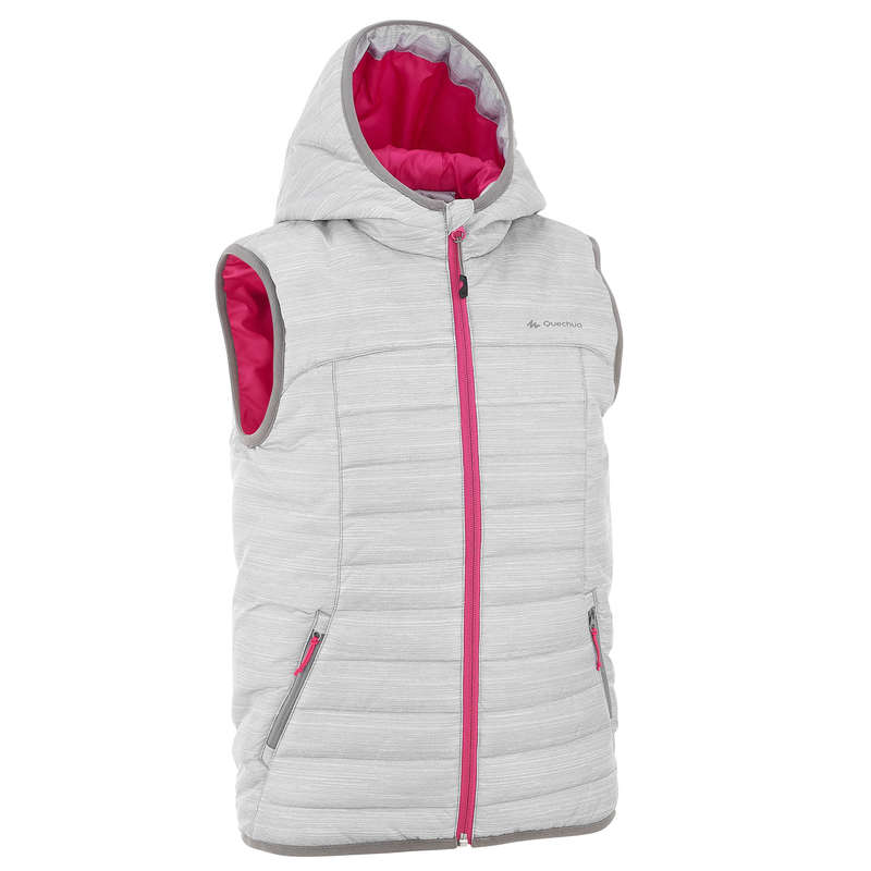 FLEECE PADDED & SOFTHELL JKT GIRL 7-15 Y Hiking - Kids' Gilet MH500 - White QUECHUA - Hiking Jackets
