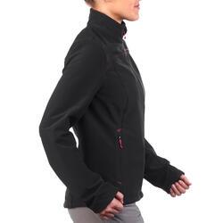 Veste coquille souple randonnée en montagne RANDO 100 Windwarm femme noir