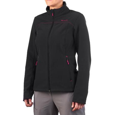 Coquille souple randonnée montagne RANDO 100 WINDWARM femme noir