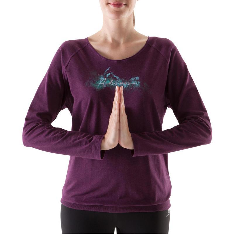 f88f19f541a Dámské tričko Yoga na jógu s dlouhým rukávem z biobavlny vínové ...